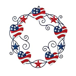 Collections Etc Americana Heart and Stars Metal Wreath - Festive Fourth of July or Memorial Day Decorative Accent 10