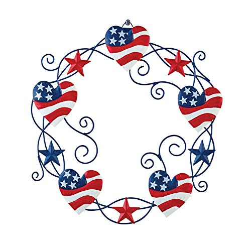 Collections Etc Americana Heart and Stars Metal Wreath - Festive Fourth of July or Memorial Day Decorative Accent from Collections Etc