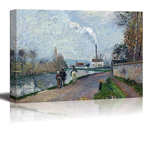 wall26 - The Oise Near Pontoise in Grey Weather by Camille Pissarro - Canvas Print Wall Art Famous Painting Reproduction - 12