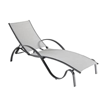 Hampton Bay Commercial Grade Aluminum Light Gray Outdoor Chaise Lounge With  Sunbrella Augustine Alloy Sling (