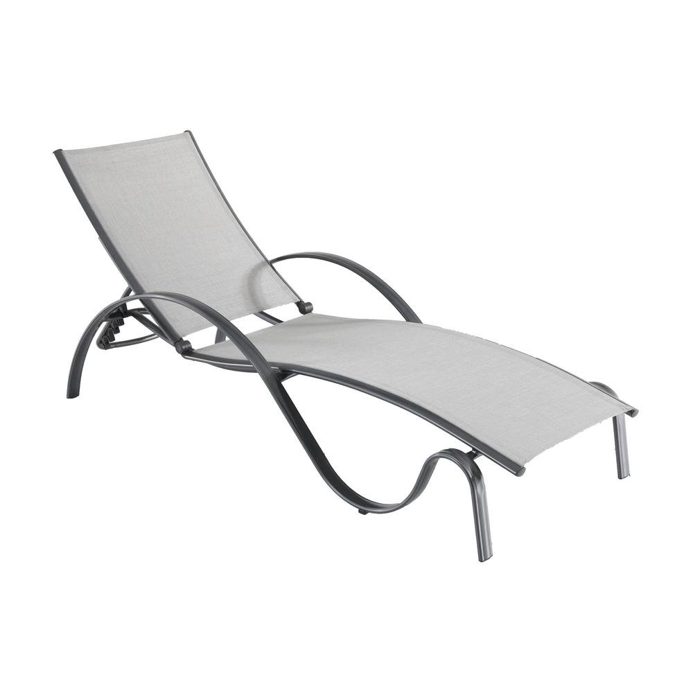 Hampton Bay Commercial Grade Aluminum Light Gray Outdoor Chaise Lounge with Sunbrella Augustine Alloy Sling (2-Pack)