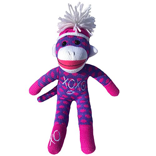 Sock Monkey Plush by ColorBoxCrate 12 inch Valentines Day Sock Monkey, Embroidered XOXO Kisses Sock Monkey, Classic Purple Sock Monkey with Pink Dots and Pom Pom Tossle Hat Perfect Valentines Day Gift