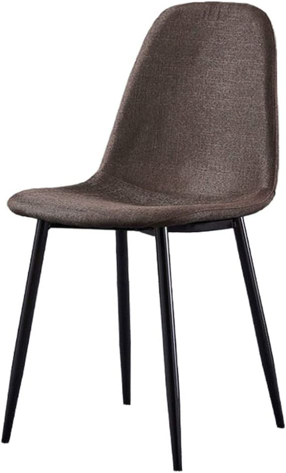 YB&GQ Set of 2 Dining Chair for Kitchen,mid Century Modern Eames Chairs with Back,Linen Fabric Upholstered Side Chair for Living Outdoor Brown 44x39x84cm(17x15x33inch)