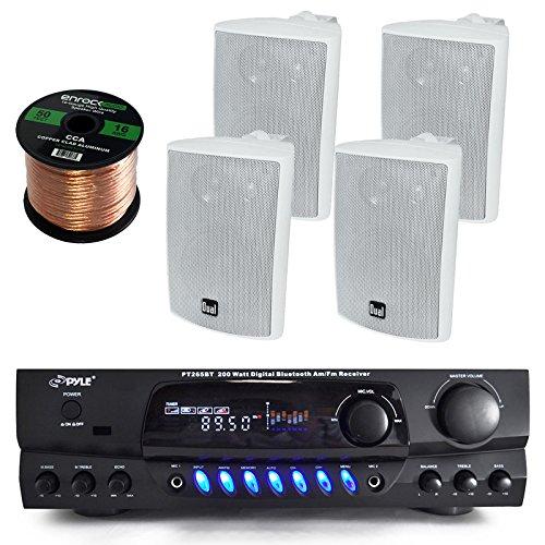 Pyle PT265BT Bluetooth 200 Watt Digital Karakoe Receiver Amplifier Bundle Combo With 4x Dual LU43PW 100-Watt 3-Way White Indoor/Outdoor Speakers + Enrock 50 Foot 16g Speaker Wire