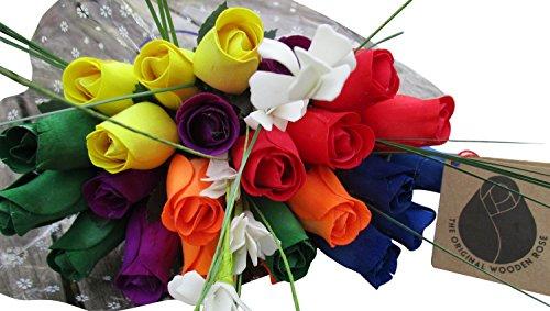 Autism Awareness Flower Bouquet The Original Wooden Rose Closed bud Rainbow Colors (2 (Dozen Orange Roses Flowers)