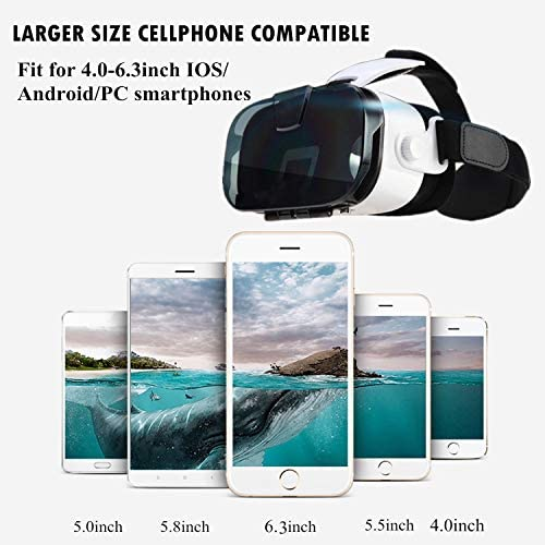 3D VR Headset/Glasses for iOS Android Cellphone, Virtual Reality Goggle w/Remote 3D IMAX Movie Game Viewer for iPhone 11 Pro XS MAX XR X 8 7 6S Plus Samsung Galaxy Note 10 9 8 S9 S8 S7 Edge +, Black 51UFSjsJriL