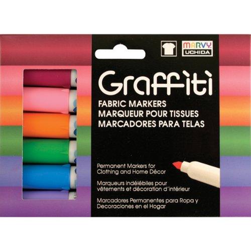 Uchida Floral Graffiti Fabric Markers (6 Pack)