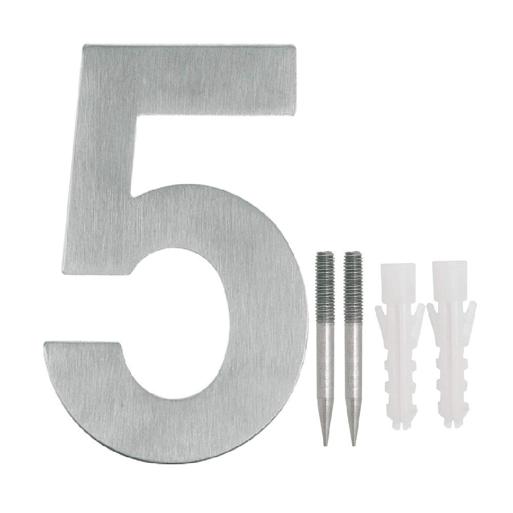 NUZAMAS Door Numbers Plaques 5, Stainless Steel Hotel House Address Plaque Digits Plate Signs Street Numbers, Wall Mounted, 10.8cm Width 15cm High, Installation Kit Included
