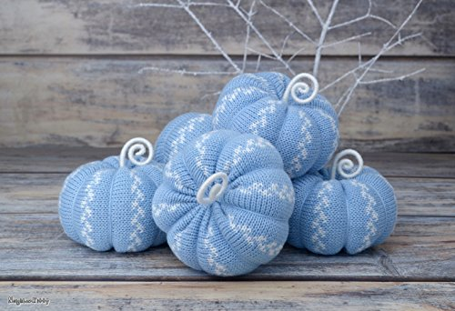 Blue Pumpkins Set of 5 Home Decoration Thanksgiving Decor Wedding Holiday Party Baby Boy Shower Gift For Her Table Centerpiece