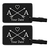 Personalized Wedding Anniversary Gifts Custom Initials & Date Arrows Personalized Wedding Gifts Personalized 2-pack Laser Engraved Leather Luggage Tags Black