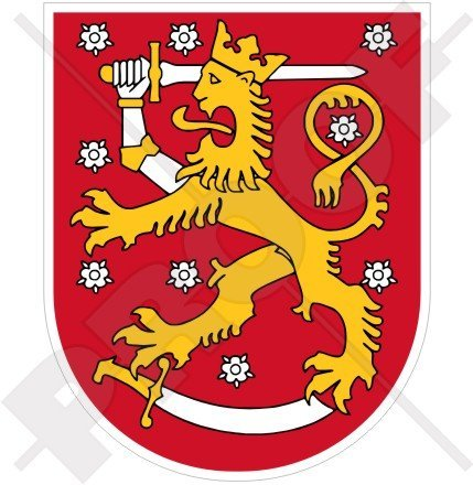 Finnish Coat Of Arms - FINLAND Finnish Coat of Arms Badge Crest SUOMI 100mm (3.9