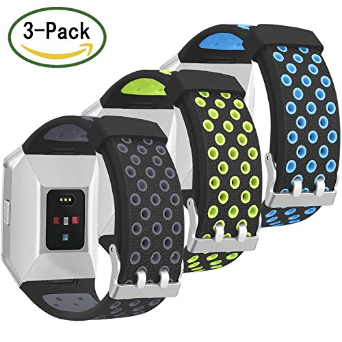 For Fitbit Ionic Bands - SKYLET 3 Pack Soft Breathable Accessories Wristbands for Fitbit Ionic Bracelet with Buckle (No Tracker)