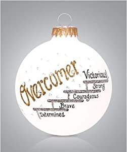 Home and Holiday Shops Overcomer Glass Ball Christmas Ornament Made in USA Victorious Strong Brave