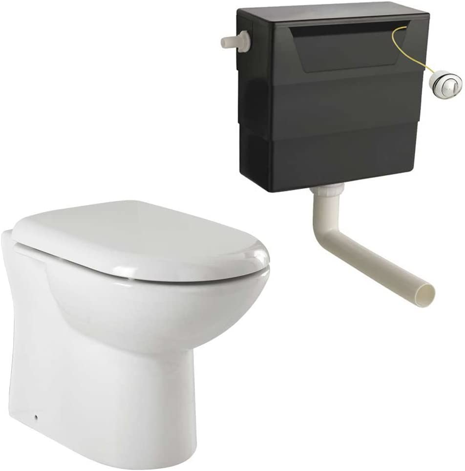 VeeBath Pro Bathroom D Shaped Back to Wall Pan with SC Seat & Concealed Cistern