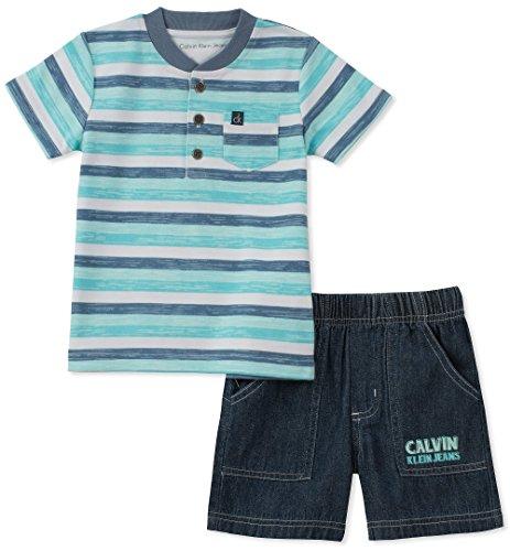 Calvin Klein Baby Boys 2 Pieces Bodysuit Shorts Set, Blue/Navy, 6-9 Months