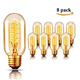 Vintage Edison Light Bulbs,40 watt/110 v/ E26/E27 Base Tubular Amber Clear Glass Filament Antique Incandescent Light Bulb, Amber Warm, Dimmable,8-Pack