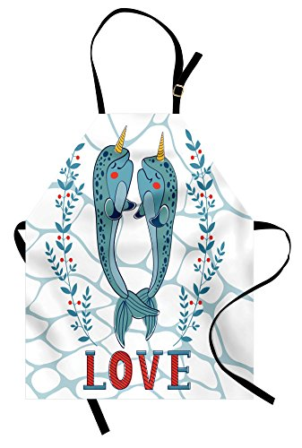 Ambesonne Narwhal Apron, A Couple of Narwhal Whales in Love Valentines Day Image with Abstract Background, Unisex Kitchen Bib Apron with Adjustable Neck for Cooking Baking Gardening, Seafoam Red]()