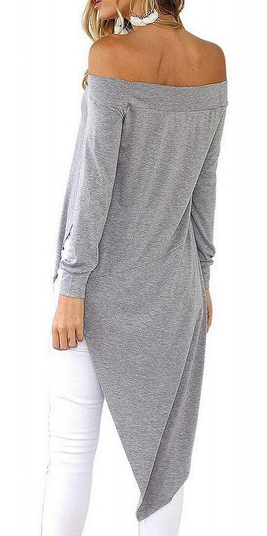 Nanquan Women Irregular Hem Long Sleeve Pure Color Off Shoulder Tops Blouse T-Shirt
