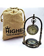 HIGHBIX Table Clock with Maritime Vintage Brass Compass Antique Victoria London with Classic Jute Bag