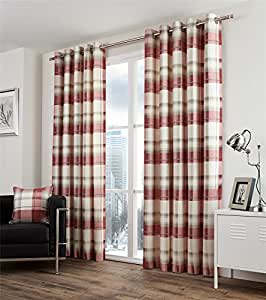 "PLAID CHECK RED BEIGE 46X72"" 117X183CM LINED 100% COTTON RING TOP CURTAINS"