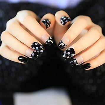 yunail brillante uñas postizas con Rhinestone Decor 24pcs corto negro y transparente Nail Art Tips completo con pegamento adhesivo: Amazon.es: Belleza