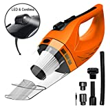 Wireless Car Vacuum Cleaner DC 12V 120W Wet Dry Auto Dustbuster Portable Handheld Auto Vacuum Cleaner for Car 4000Pa Suction Car Hoover with HEAP Filter&5Meters LED Light Car & Home Cleaner (Orange)