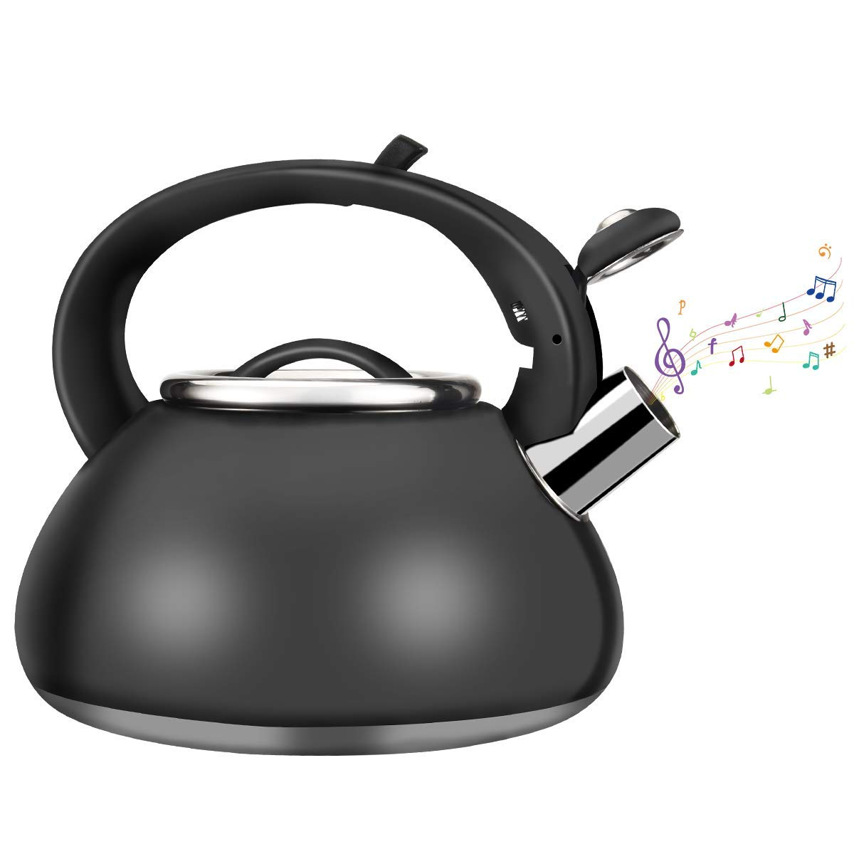Whistling Stainless Steel Tea Kettle, Kinovation Food Grade Tea Pot with Heat-Proof Handle – Stovetop Suitable for All Heat Sources