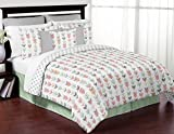 Sweet Jojo Designs 3-Piece Grey, Coral and Mint Woodland Arrow Print Girls Childrens Teen Full / Queen Bedding Set