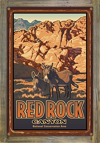 Red Rock Canyon Donkeys Rustic Metal Print on Reclaimed Barn Wood by Paul Leighton (12