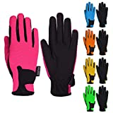 Mashfa Kids Horse Riding Gloves Children Equestrian Horseback Winter Biking Bike Gardening Ski Snow Cycling Boys & Girls Mittens Pony Youth Outdoor Mitts (Pink, Age 10-12 Years)