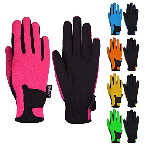 (Mashfa Kids Horse Riding Gloves Children Equestrian Horseback Winter Biking Bike Gardening Ski Snow Cycling Boys & Girls Mittens Pony Youth Outdoor Mitts (Pink, Age 8-10 Years) )