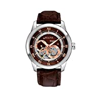 Bulova Men's Brown Leather Self-Winding Mechanical Watch