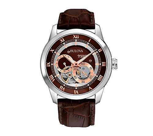 Bulova Men's Brown Leather Self-Winding Mechanical Watch