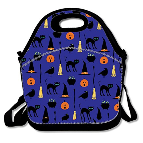 Unique Lunch Tote Halloween Black Cat Lunch Box Waterproof For (Ice Age Halloween Special)