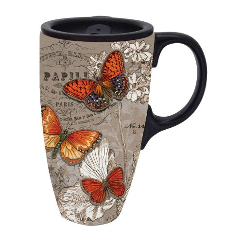 17 oz. Butterfly Boxed Ceramic Latte Travel Cup (Ceramic Latte Travel Mug)