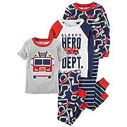 Carter's Baby Boys' 5-Piece Cotton Snug-Fit Pajamas, Fire Truck, 6 Months