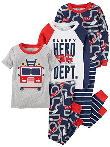Carter's Boys' Toddler 5-Piece Cotton Snug-Fit Pajamas, Firetruck, 2T