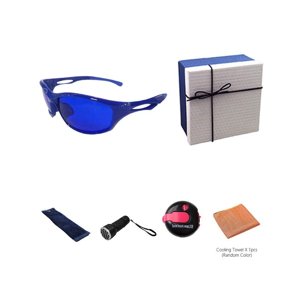 POSMA GS-SGG080A Golfballfinder Brillen Retriever Geschenkset inkl. UV Golfball Finder Taschenlampe Golfball Reinigung Handtuch Kühltuch und One Touch Reset Strichzähler in eleganter Geschenkbox