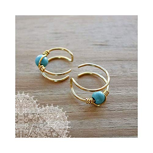 Double Band Helix Ear cuff Gold Brass Turquoise Cuff Earring Ear Wrap Non Pierced Fake Conch Piercing Clip On ()
