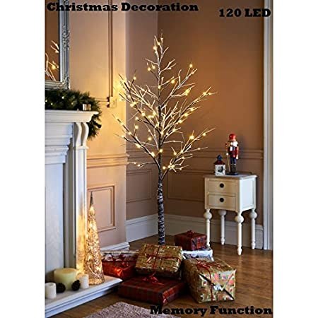 Image Unavailable - 6ft Snowy Effect Warm White Twig Tree Pre-lit 120 LED Christmas