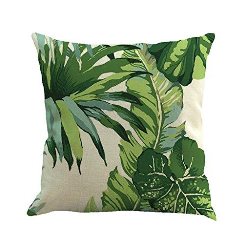 18 X 18 Inch Tropical Tree Leaves Print Cotton Linen Decorative Throw Pillow Cover Cushion Case Pillowcase(2)