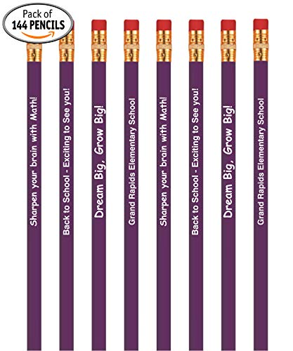 Personalized Custom Pencils, Round Wooden #2 Lead HB2 Pencil, Printed with Your Logo & Text, Best Incentive for Kid's Great for Schools Teachers Students & Classrooms, (Pack of 144, -