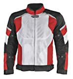 Pilot Men's Direct Air Mesh Motorcycle Jacket (White/Red/Black, XX-Large)