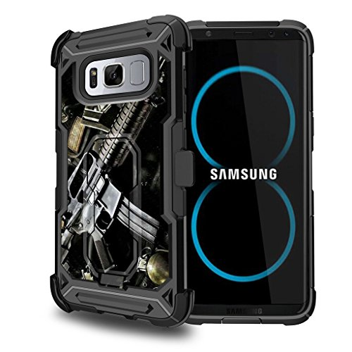 Untouchble Case for [Samsung Galaxy S8, S8 Kickstand Case] Shockproof Case Defender Protector with [Kickstand] [Holster] - Tough Assault Rifle