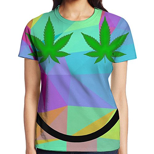 Weed Smiley Face Rainbow TrianglesWomen's Summer Casual Short Sleeve T-Shirts Crewneck T-Shirt Top