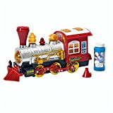 "Toy Steam Train Locomotive Car w/ Lights & Sounds & ""Steam"" Bubbles, Battery-Powered Bump N' Go Motion by Brunfen Toys"