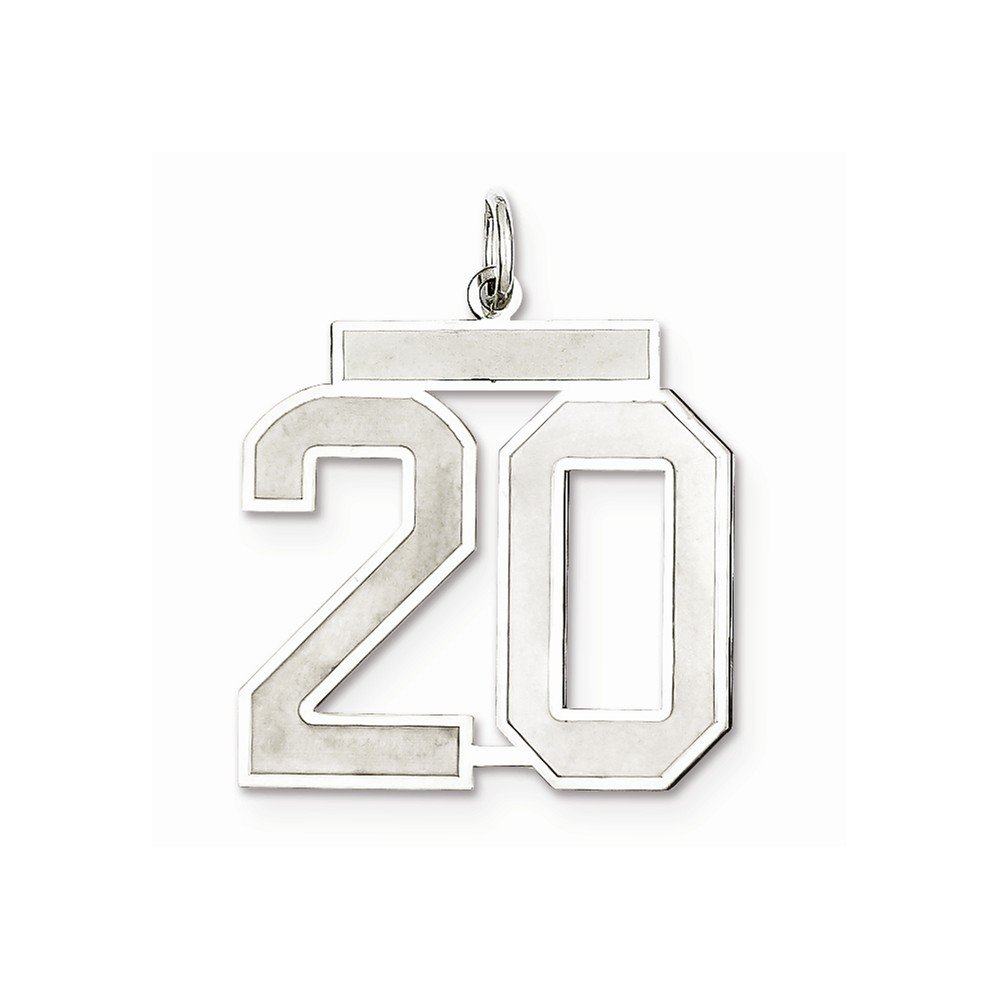 Sterling Silver Large Satin Number 20 on a Sterling Silver Cable Snake or Ball Chain Necklace