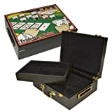 Deluxe High Gloss Wooden 500 Chip Poker Case with Vegas Themed Color Graphics