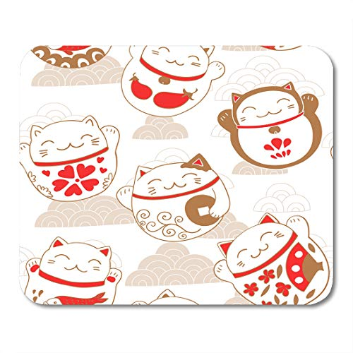 Semtomn Mouse Pad Red Japan Cats Maneki Neko Lucky Charms Pattern Cute Mousepad 9.8