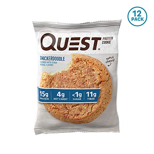 Quest Nutrition Snickerdoodle Protein Cookie, High Protein, Low Carb, Gluten Free, Soy Free, 12Count